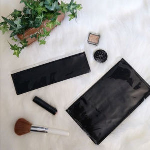 NWOT-MAC-Cosmetics-Clear-amp-Black-Bag-Set-of-Two for sale
